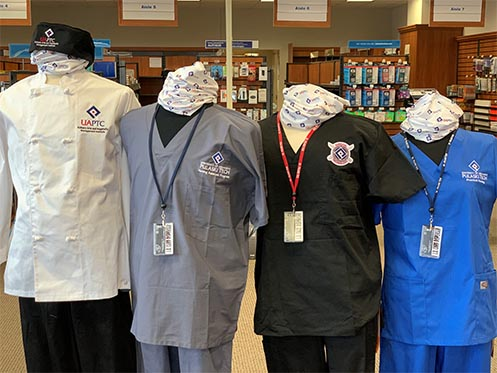 UA-PTC Uniforms and Scrubs available in Bookstore