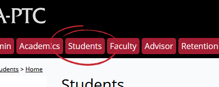 Student tab in the Campus Portal
