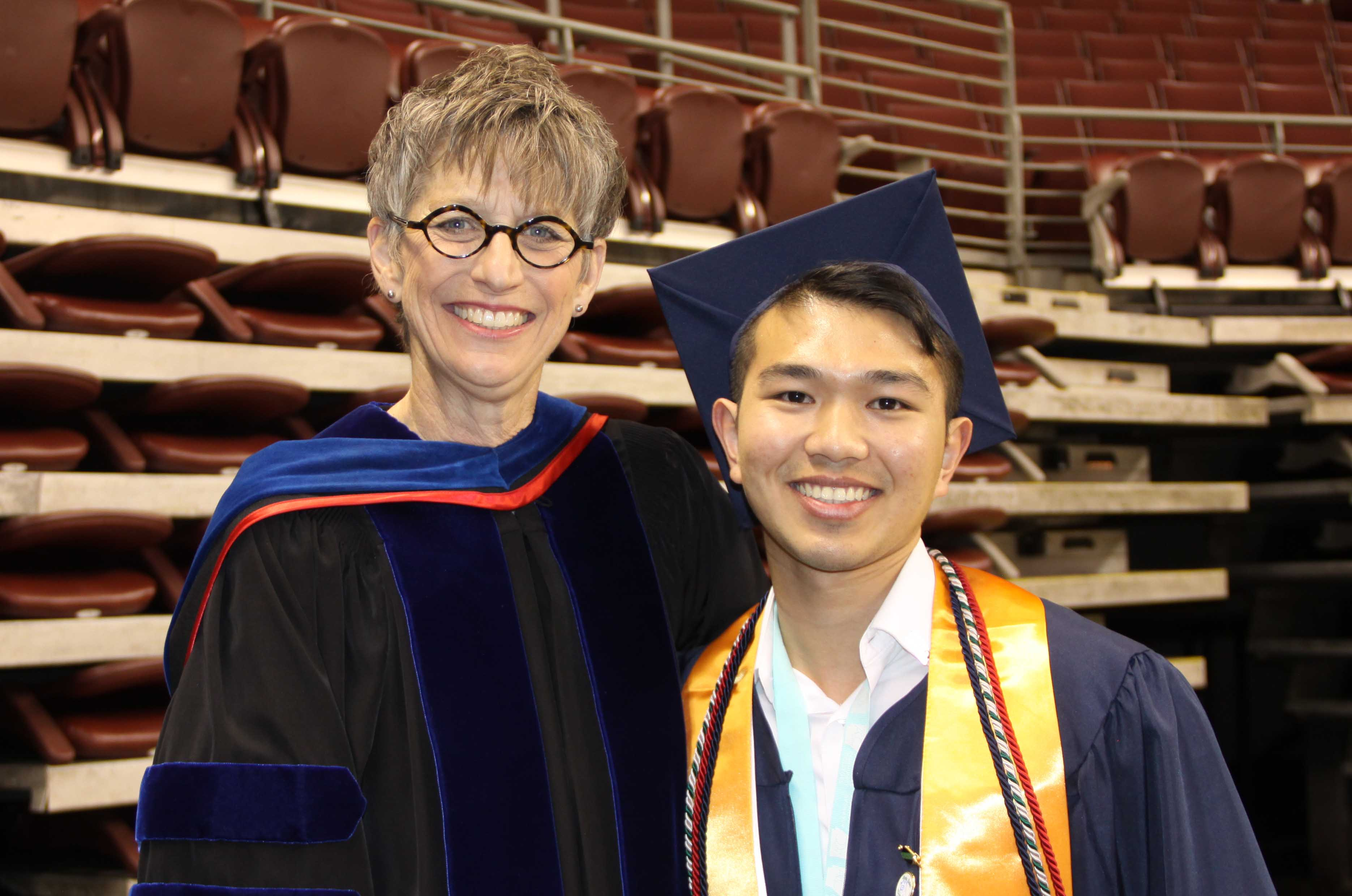 Chancellor Margaret Ellibee with UA-PTC Graduate Loc Huynh