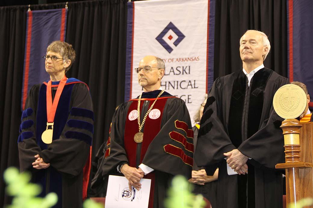 2019 Commencement - UA-PTC Chancellor Dr. Margaret Ellibee left,  UA System President Dr. Donald Bobbitt middle and Arkansas Governor Asa Hutchinson right
