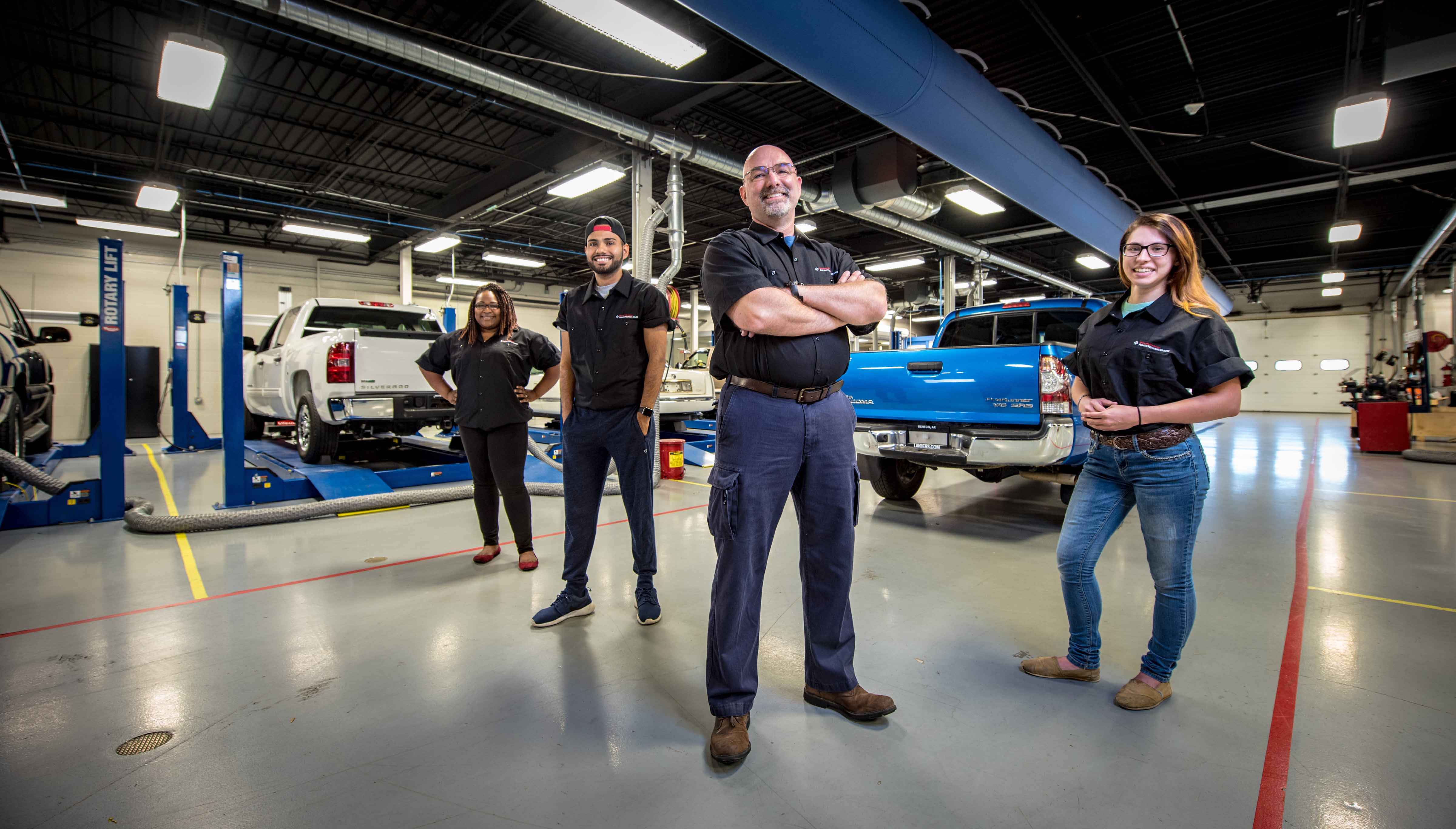 UA-PTC Automotive Program Students and Instructor